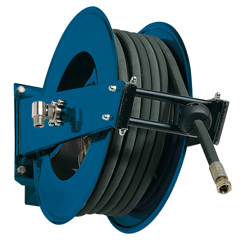 """Art. 37115 Spring-driven hose reel made of painted steel; standard series. To be used at distances up to 20m (1/2"""" hose). Reels are supplied as standard without the hose and are compatible with hoses for oil, antifreeze, grease, air and water."""